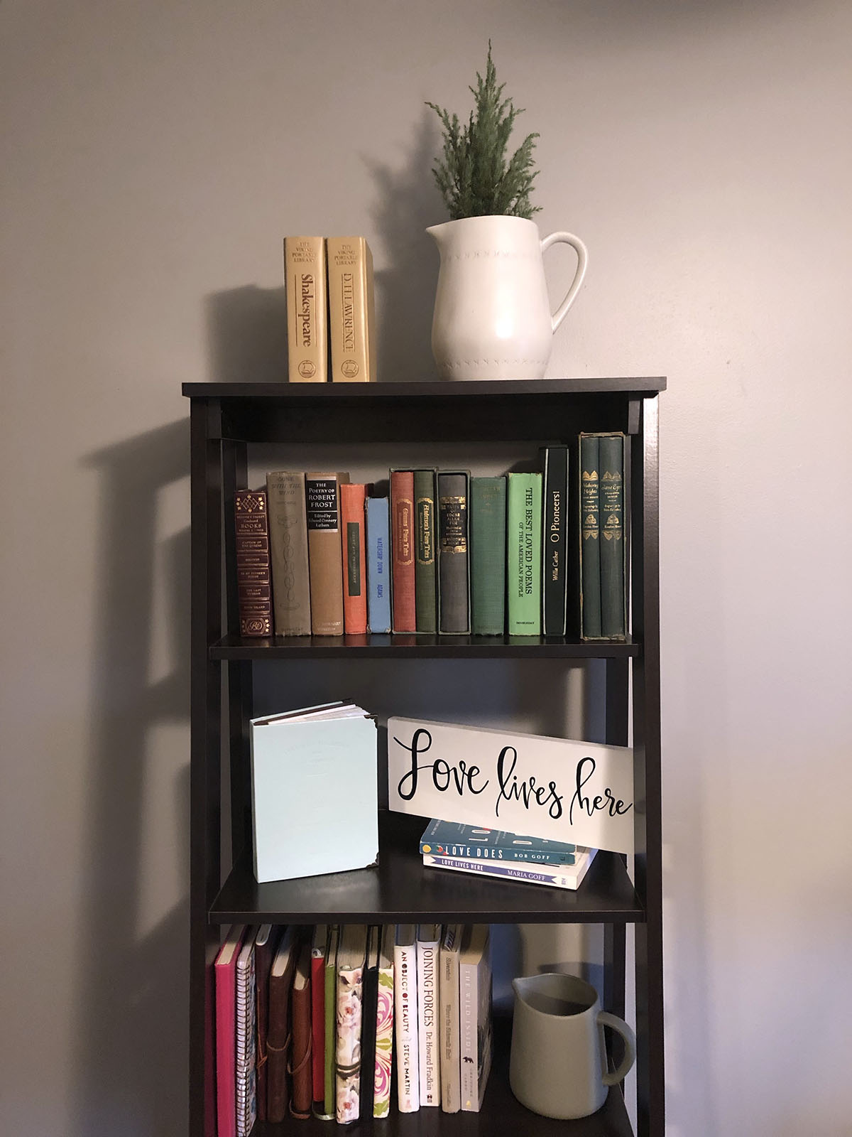 decorated bookcase